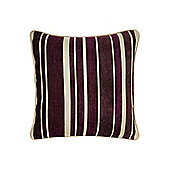Linea Stripe Chenille Cushion In Purple
