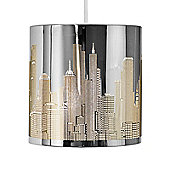New York Skyline Ceiling Pendant Light Shade in Chrome