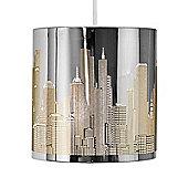 New York Skyline Ceiling Pendant Light Shade in Chrome