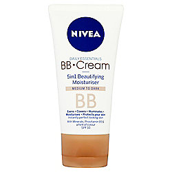 NIVEA Daily Essentials BB Cream 5in1 Beautifying Moisturiser Medium to Dark SPF 10 50ml