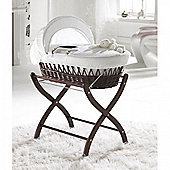 Izziwotnot White Gift Wicker Moses Basket - Dark