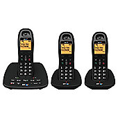 BT 1500 Cordless Triple Phone with Answer Machine - Black