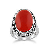 Gemondo Orange Carnelian Sparkling Marcasite Oval Ring in 925 Sterling Silver