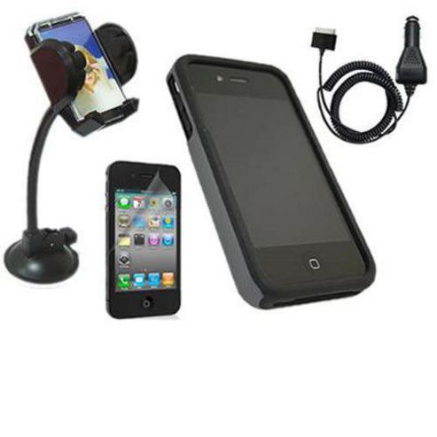 FuZion Grey Black 2 Part Case, LCD Guard, Holder & Car Charger - Apple iPhone 4G