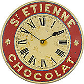 Roger Lascelles Clocks Large Enamel St. Etienne Chocolate Dial Wall Clock