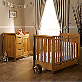 Obaby Lincoln 2 Piece Mini Cot Bed/Changing Unit/Sprung Mattress - Country Pine