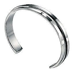 Fred Bennett Black Raised Ridge Steel Bangle