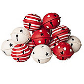 Set Of Twelve Large Red & White Bells - Christmas Decorations