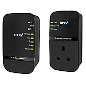 BT Wi-Fi Home Hotspot 500 Kit, Passthrough Powerline Adapter - Black