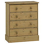 Home Essence Dunedin Wide Four Drawer Chest in Pine
