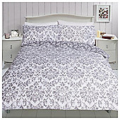 Broken Damask Print Kingsize Duvet Set - Grey