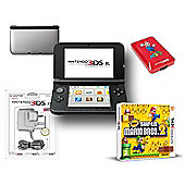 """3DSXL Silver & Black (New Super Mario Bros 2, Adaptor and Case)"""
