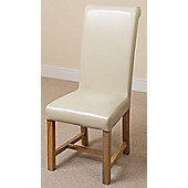 French Chateau Rustic Solid Oak 150 cm Dining Table with 6 Ivory Washington Leather Chairs