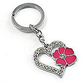 Silver Tone Crystal Enamel Heart Keyring/ Bag Charm