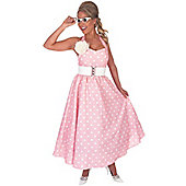 50's Pink Polka Dot Day Dress - XXL