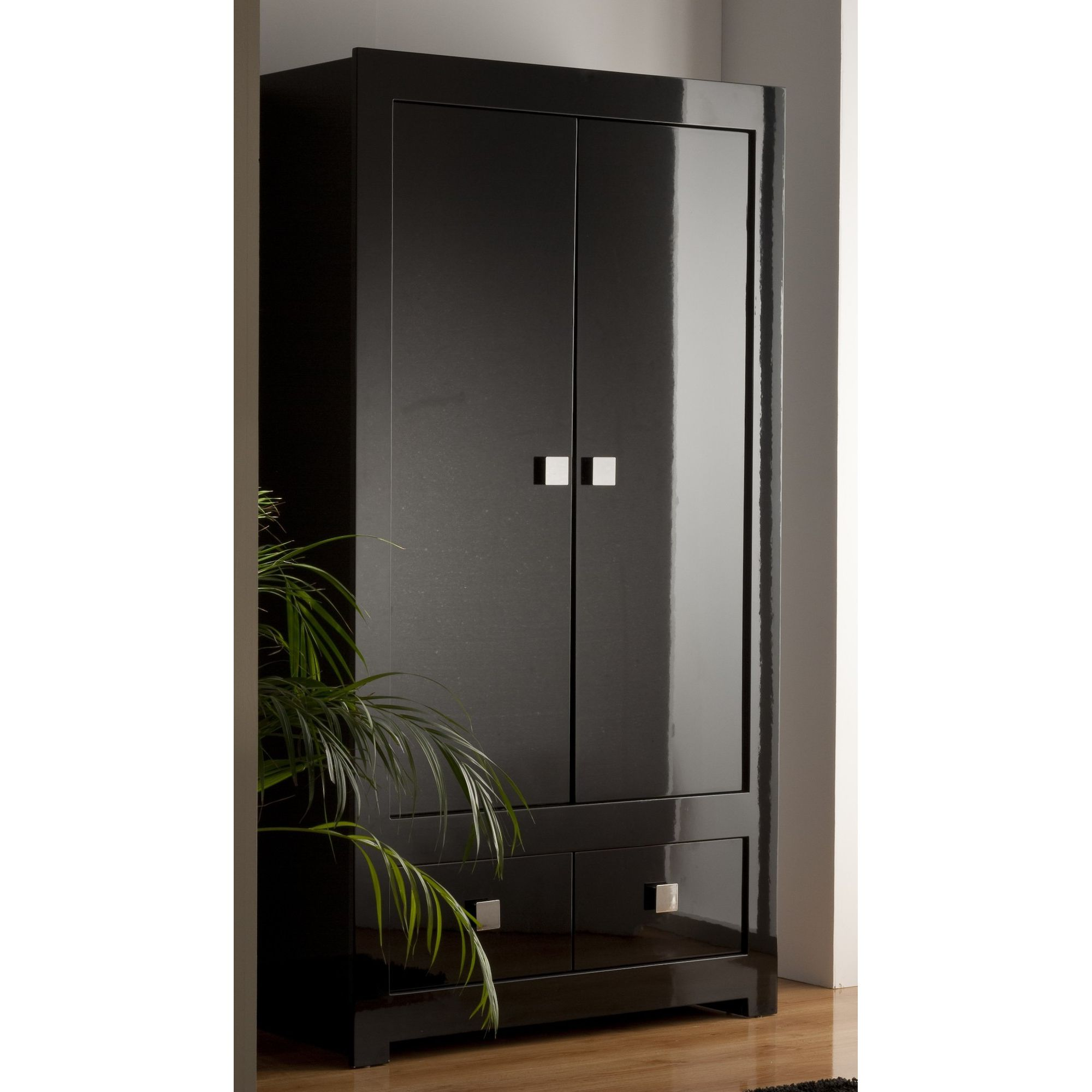 World Furniture Modena Two Drawer Wardrobe in High Black Gloss at Tesco Direct