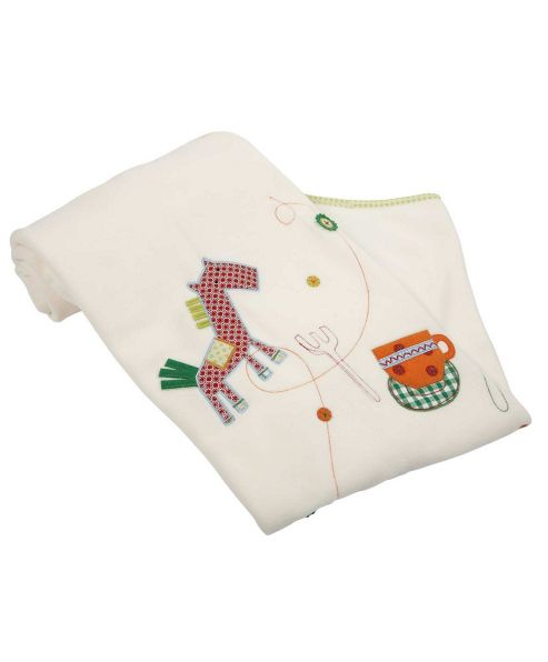 Mamas & Papas - Embroidered Fleece Blanket- Gingerbread