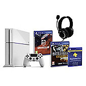 PS4 (White) With Battlefield Hardline, Driveclub, GP3 Headset, PSPlus (3Mth)