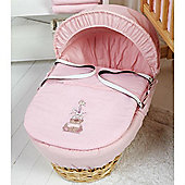 Clair de Lune Tippy Tumble Palm Moses Basket (Pink)