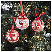 Decoupage Red And White Reindeer Set, 14 Piece