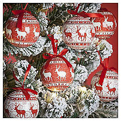 Decoupage Reindeer Christmas Baubles, 14 pack