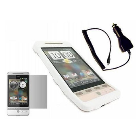 iTALKonline LCD Screen Protector, Car Charger and Hybrid Case White