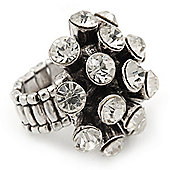 'Space Jam' Dome-Shaped Crystal Cluster Ring (Silver Tone) - Adjustable size 7/8
