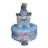 Baby Boy Blue Nappy Cake Gift Hamper with Zebra (Two Tier)