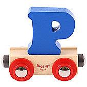 Bigjigs Rail Rail Name Letter P (Dark Blue)