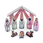 Nine Piece Resin Pink Finish Christmas Nativity Set