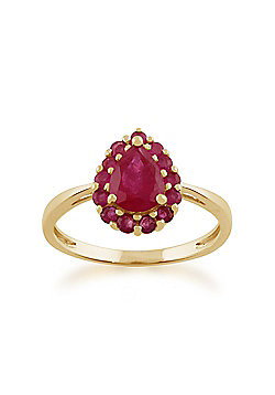 Gemondo 9ct Yellow Gold 1.20ct Ruby Pear Shaped Cluster Ring