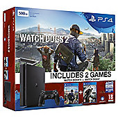PS4 Slim 500GB Watch Dogs 2 Console Bundle Black (D Chassis)