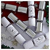 Silver Glitter Reindeer Luxury Christmas Crackers, 8 pack