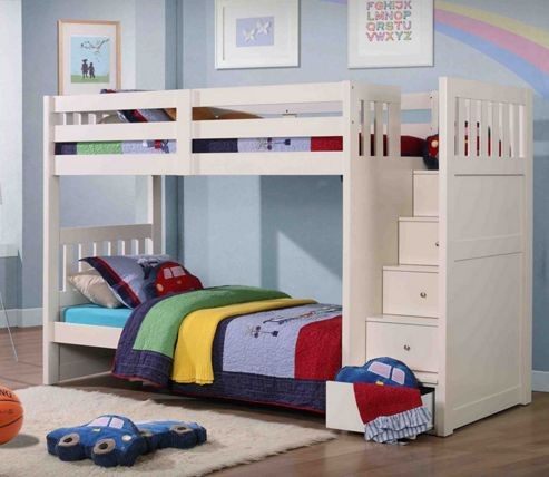 Buy Neutron Bunk Bed With Stair Storage White From Our