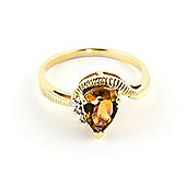 QP Jewellers Diamond & Citrine Belle Diamond Ring in 14K Gold