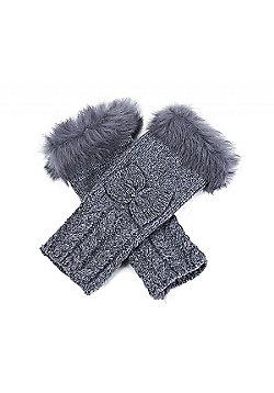 Grey Fluffy Arm Warmers