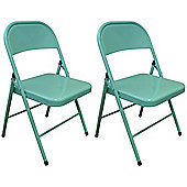 Pack of 2 Chairs -Duck Egg Metal Folding Office, Computer, Desk Chairs
