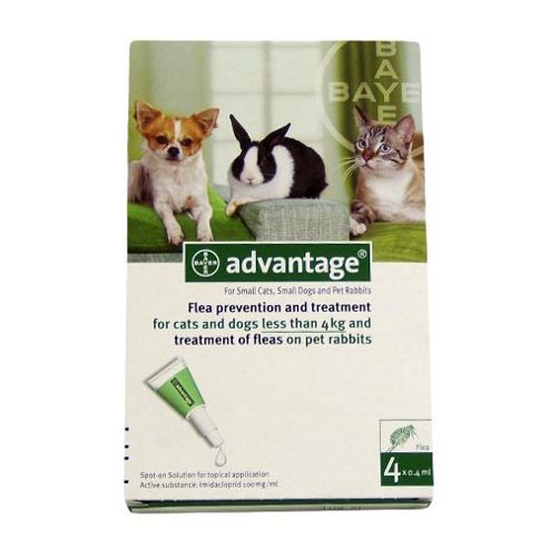 Advantage 40 for Small Dogs Cats and Rabbits (4 pipettes)