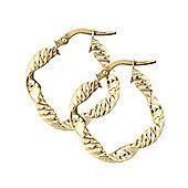 Jewelco London 9ct Yellow Gold - Crimped Hoop - Earrings - Ladies