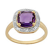 Gemondo Gold Plated Sterling Silver 1.50ct Natural Amethyst & 3.2pt Diamond Cluster Ring