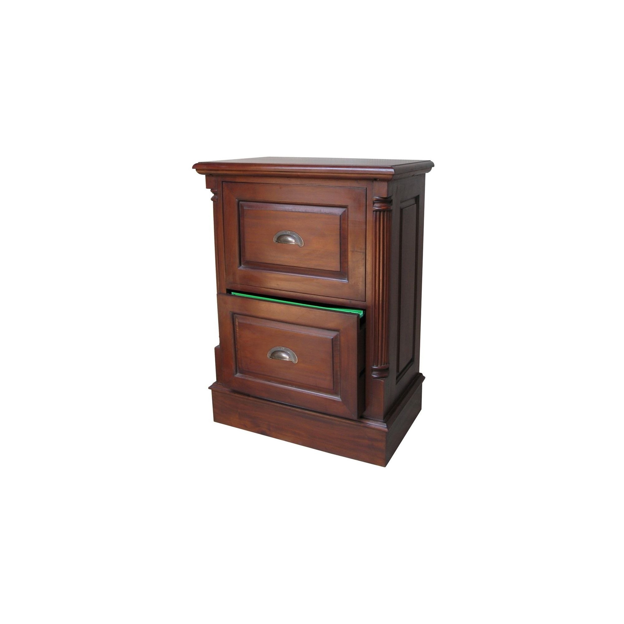 Lock stock and barrel Mahogany 2 Drawer Filing Cabinet with Antique Handles in Mahogany at Tescos Direct