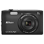 "Nikon Coolpix S3600 Digital Camera, Black, 20.1 MP, 8x Optical Zoom, 2.7"" LCD Screen"