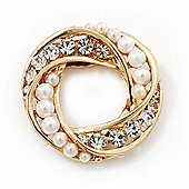 White Faux Pearl & Clear Diamante Round Scarf Pin In Gold Finish - 3.5cm Diameter