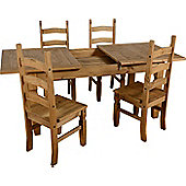 Corona Extending Dining Set (1+4) with 4 Chairs