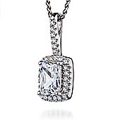 The REAL Effect Rhodium Coated Sterling Silver Cubic Zirconia Rectangle, Large Centre Pendant Pendant