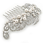 Bridal/ Wedding/ Prom/ Party Rhodium Plated Clear Crystal, Pearl 'Feather' Hair Comb - 100mm