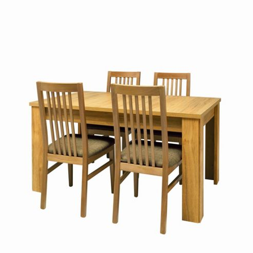 Caxton Strand Extending Dining Set with 4 Slatted Back Dining Chairs in Oak - Red / Gold Stripe