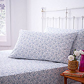 200 Thread Count Blue Print Fitted Super King