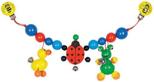 Heimess 762290 Wooden Pram String Clip On (Duck, Frog and Ladybird)