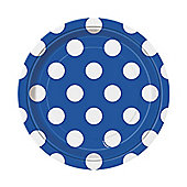 Blue Polka Dot Dessert Plates - 17cm Paper Party Plates